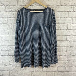 Vince Small Shirt Long Sleeve Striped Linen Blue